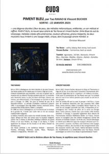 CP - PIMENT BLEU - Tao Ravao et Vincent Bucher - 2021 - Buda musique ref : 860 363)